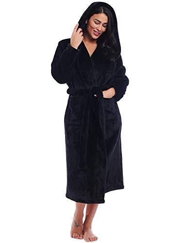 Women Plush Fleece Hooded Robe Long Warm Bathrobe with Pockets (Black, Small)