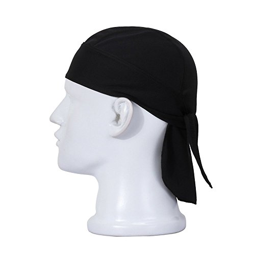 Wicking Beanie Adjustable Cycling Bandana - Skull Cap Beanie for Outdoor Running - Double Dry Dew Doo Rag Head Wrap Headband Sweatband Black