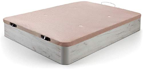HOGAR24.es 3D- Canapé abatible de Madera de Gran Capacidad Tapa 3D Transpirable Color Blanco vintage-135x190cm