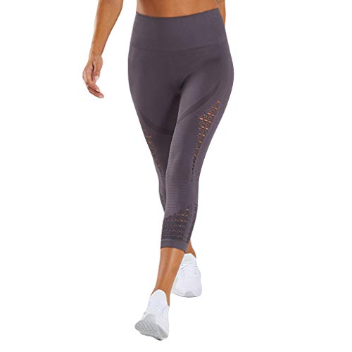 Women's High Waist Seamless Compression Leggings Stretchy Tummy Control Butt Lift Active Fitness Workout Gym Yoga Pants Gray