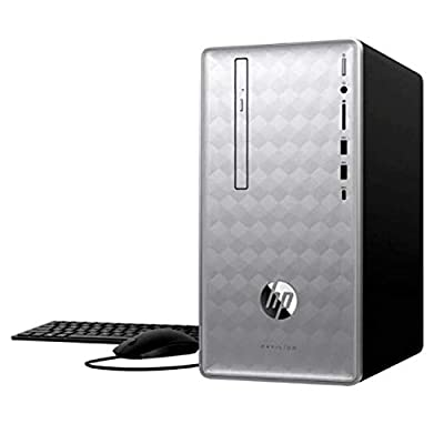 Latest_HP_Premium_Pavilion Desktop PC, 8th Gen Intel Core i5, 8GB Memory, 1TB Hard Drive/128GB Solid State Drive, DVD R/W, WiFi + Bluetooth 4.2, SD Card Reader, Windows 10_Keyboard and Mouse