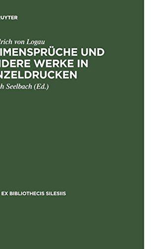 Reimensprüche und andere Werke in Einzeldrucken (Rara ex Bibliothecis Silesiis, Band 2)