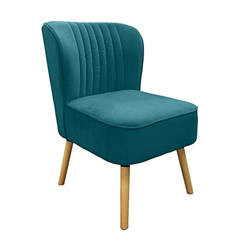 Meubletmoi Zelie - Sillón acolchado de terciopelo azul pato con pespuntes y patas de madera clara