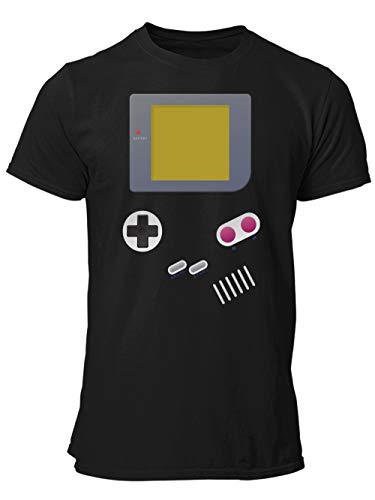 clothinx Handheld Konsole im Vintage 90er Jahre Retro Print | Gamer | Nerd | Geek | Computer Freak | LAN-Party | Herren T-Shirt Schwarz Gr. M
