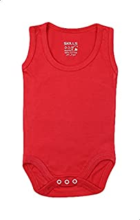 Skills Plain Snap Closure Sleeveless Round Neck Unisex Bodysuit - Red, 24 Months