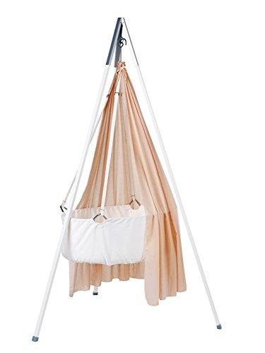 Ausstellungsstück Leander Babywiege Wiege weiß Set inkl. Comfort Träumeland Softschaummatratze, Schleier soft pink, Haken und Stativ