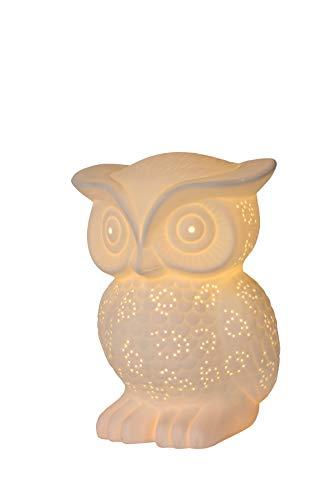 Lucide OWL tafellamp, porselein, 25 W, wit
