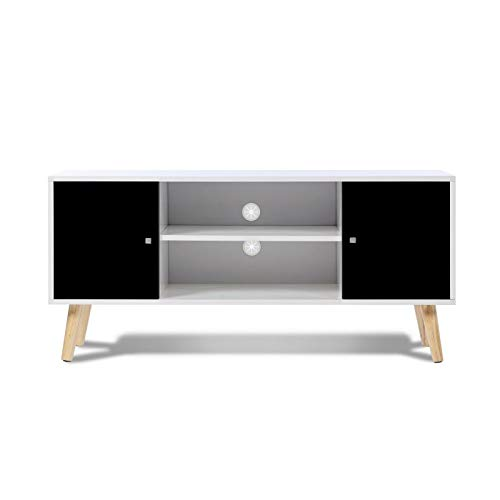 IDMarket - Meuble TV EFFIE scandinave bois blanc et noir