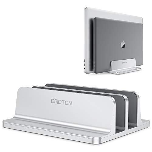 OMOTON Supporto Verticale per Laptop, Doppio Slot in Alluminio per Computer e Tablet, Salvaspazio Compatibile con MacBook/iPad/HP/Microsoft e Altri Laptop, Argento