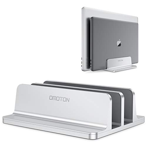 [Updated Dock Version] Vertical Laptop Stand, OMOTON Double Desktop Stand Holder with Adjustable Dock (Up to 17.3 inch), Fits All MacBook/Surface/Samsung/HP/Dell/Chrome Book (Grey)