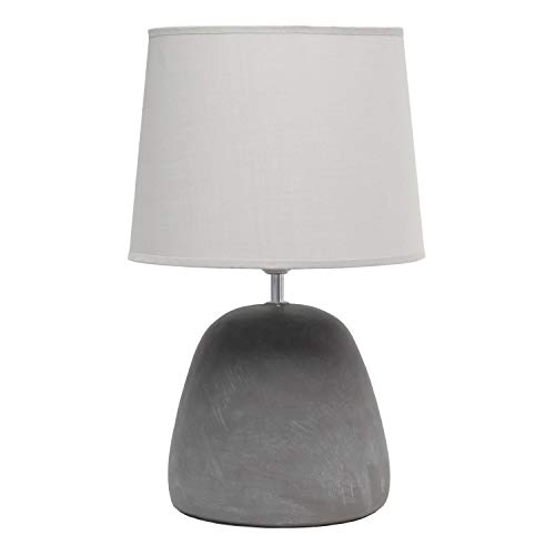 Simple Designs LT2058-GRY Round Concrete Table Lamp, Gray
