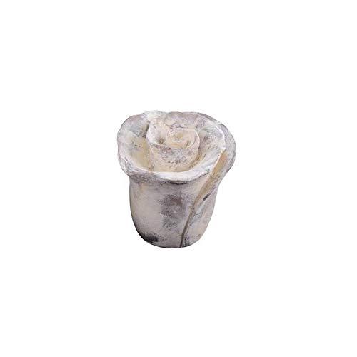 L'Héritier Du Temps Rose à Poser de Jardin ou Statuette Fleur Décorative en Terre Cuite Patinée Blanche Antique 14x14x14,5cm
