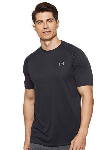 Under Armour Tech 2.0. Camiseta masculina, camiseta transpirable, ancha camiseta para gimnasio de manga corta y secado rápido, Black/Graphite (001), XL