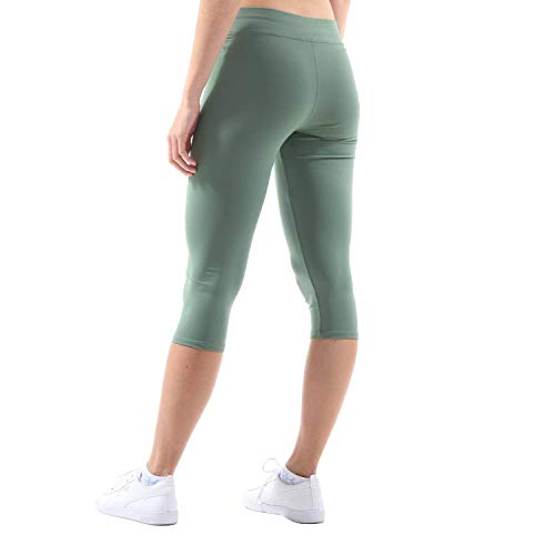 Sportkind Mädchen & Damen Sport Capri Leggings, Yoga-Fitness-Hose in 3/4 Länge, olivgrün, Gr. 152