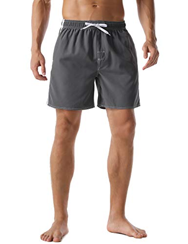 Nonwe Men's Swim Shorts Quick Dry Solid Soft Relaxed Fit Board Shorts Gray 34