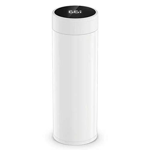 Doppelwandige Vakuumbecherflasche Thermo, LED-Temperaturanzeige, magnetische Aufladung, intelligente Trinkwassererinnerung, geeignet für Radfahren, Fitnessstudio, Zuhause, Büro-White