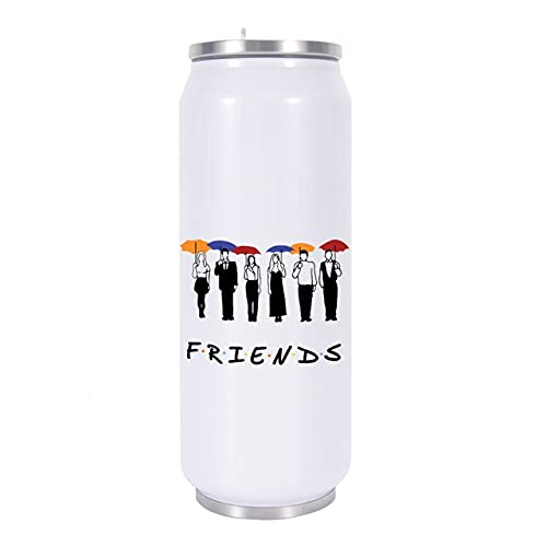 xinying Taza térmica con impresión de amigos Latas termo termo taza de café, botella de agua, café, viaje, pajita (color: 450 ml)