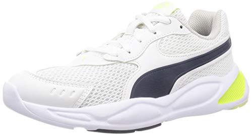 PUMA 90S Runner Mesh JR, Zapatillas Unisex niños, Blanco White/Peacoat/Sharp Green/Gray Violet, 38.5 EU