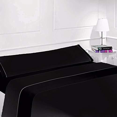 CONFORT HOME M.T. Juego SÁBANAS - Cool Edition - Verano 3 Piezas (Negro, 150_x_200_cm DOBLE Queen)