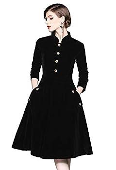 Women s Long Sleeves Velvet Button Up Swing Midi Pockets Dress Black