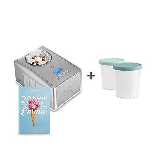 Eismaschine Emma 1,5 L mit selbstkühlendem Kompressor 150 Watt inkl. Aufbewahrungsbehälter 2er-Set, aus Edelstahl mit entnehmbarem Eisbehälter, inkl. Rezeptheft