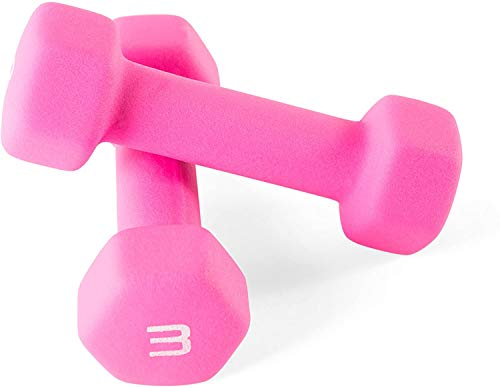 Neoprene 3 lb - 2pcs Cast Iron Dumbbell for Women, Dumbbells in Pair, Exercise Weights for Core and Strength Training