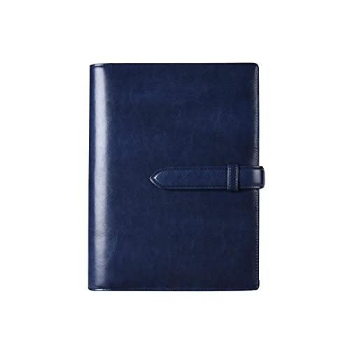 NZKW Diario de Cuero Cuaderno de Escritura Recargable Cuaderno de 6 Anillas Carpeta de Diario Recargable Cuadernos de Viajero (Color: Azul)