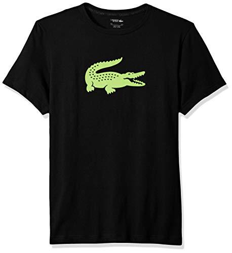 Lacoste Men's Sport Short Sleeve Jersey TECH W/Gator Graphic Logo, Black/Fluorescent Zest, XL