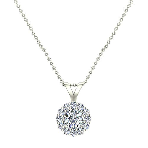 Halo Diamond necklaces for women 14K White Gold Charms Round Cut Earth-mined Diamond Pendant (G, VS)
