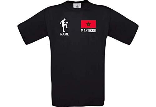 Shirtstown Camiseta de Hombres Camiseta de Fútbol Marruecos con Su Nombre Deseado Impreso - Negro, S