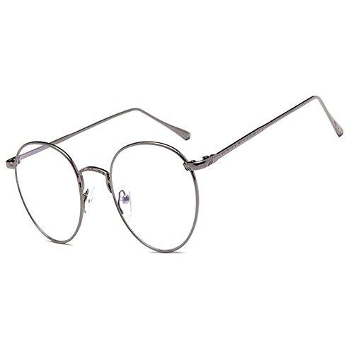 Aiweijia Unisex-Feder-Scharnier-Metallrahmen Eyewear-Art- und Weiseart-Weinlese-runde Glas-klare Linse