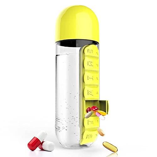 600ml Sports Plastic Water Bottle Travel Bottle Combine Daily Pill Boxes Organizer Drinking Bottles Leak-Proof Bottle Tumbler Outdoor with Built-in Daily Pill Box Organizer Insulation cup