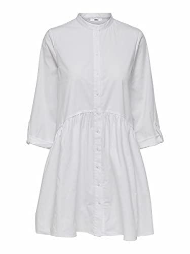 ONLY Damen Onlditte Life 3/4 Shirt Noos Wvn Casual Dress, White, 38 EU