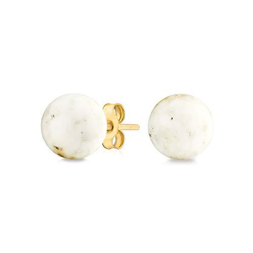 Piedras Preciosa Blanco Simple Vano Onyx Pendiente De Boton Bola Redonda Para Mujer Real Oro Amarillo 14K De 6Mm