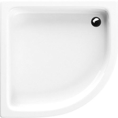 VBChome Acryl-Duschwanne 90x90x26 cm R55 Duschtasse Grawello Viertelkreis Duschkabine Styroporträger Sanitär-Acryl Duschbecken stabil weiß befliesbar+ Viega Domoplex