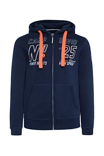 Camp David Herren Hoodie Jacket mit Label-Applikationen, Blue Navy, XL