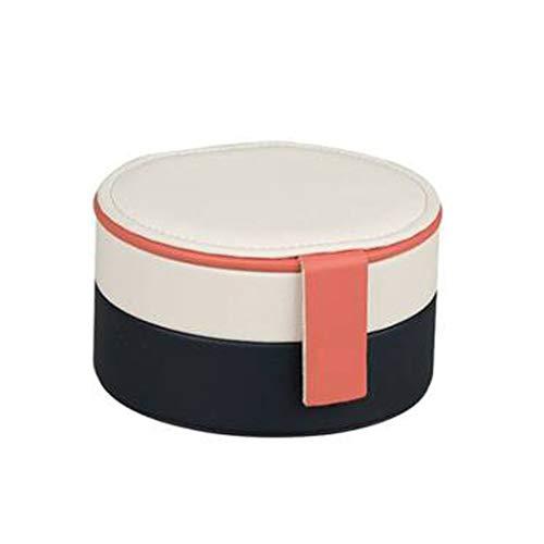 Caja de joyería Caja de joyería de Viaje de Cuero PU Caja de Almacenamiento de exhibición de Organizador de 3 Capas Caja de Regalo Redonda con Espejo, Blue