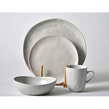 Pangu 16-Piece Porcelain Dinnerware Sets, MINIMALISM, Handmade Irregular Shape Look, Service for 4 (16 piece, Grey)