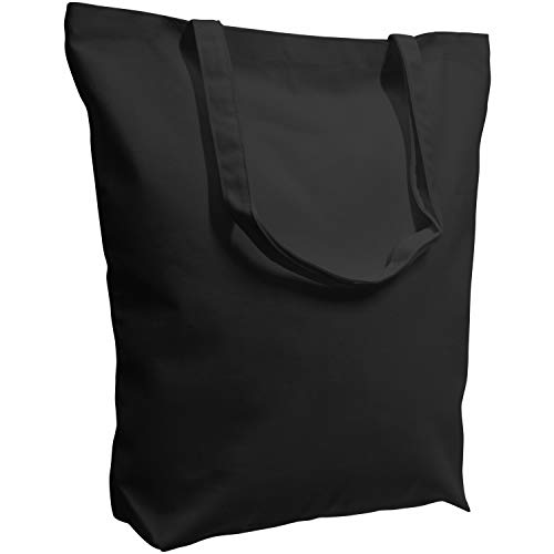 TOPDesign 2 | 4 Pack Super Strong Large 17.5'x16.5'x5' 10oz Cotton Canvas Tote Bag, Reusable Grocery Shopping Bags, Blank Black Bags for Crafts, DIY Your Creative Designs (Pack of 2)