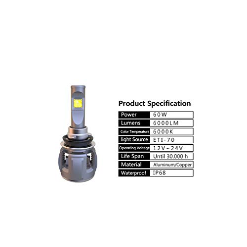 E70 phare de voiture LED IP68 12V 6500K H4 modifié près de l'ampoule ampoule loin éblouissement spotlight, 1PCS,9004