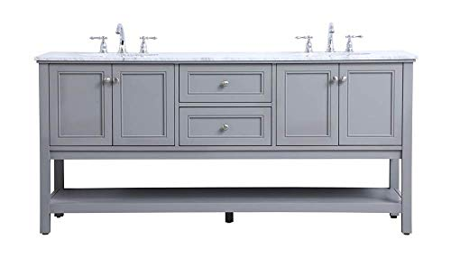 New 72 in. Double Sink Bathroom Vanity Set in Gray