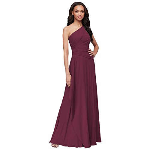 One-Shoulder Georgette Cascade Bridesmaid Dress Style F19832, Wine, 2
