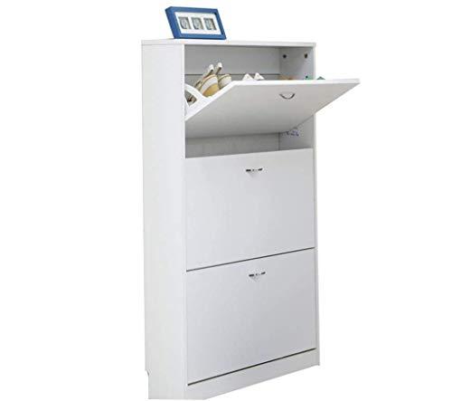 HLL Gabinete de zapatos, gabinete de pasillo moderno y simple, gabinete de zapatos con inclinación ultrafino, armario nórdico multifunción de gran capacidad,Blanco