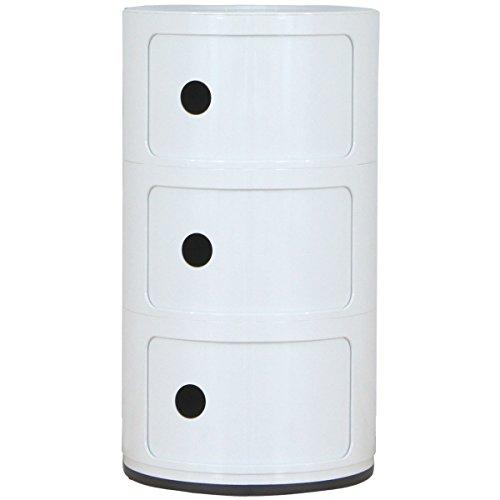 ottostyle.jp ハイラウンドストレージキャビネット (約)幅32cm×奥行32cm×高さ58cm (WHITE/ホワイト) シンプルなデザインがリビングをモダンに演出