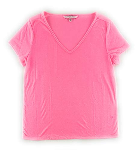 Victoria's Secret Pajama Top Sleep Separates Small Bright Pink Marl V Neck Short Sleeve