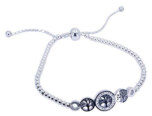 Sincerelyforyou Edelstahl-Perlen-Armband Lebensbaum echte Kristall-Box Geschenk für Frauen Weihnachten Geburtstag Valentinstag Jahrestag
