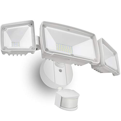 SONATA LED Security Lights, 4000LM Super Bright Motion Sensor Light Outdoor, 42W 6000K, IP65 Waterproof Motion Sensor Flood Light with 3 Adjustable Heads for Entryways, Yard, Garage