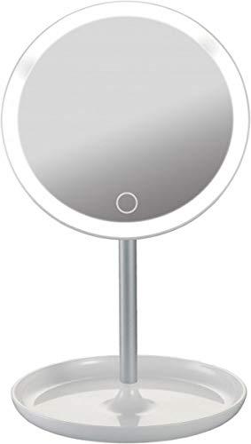 Platinet PMLY7W make-upspiegel met LED perfect voor de badkamer, voor de make-uptafel, door de USB-aansluiting ook onafhankelijk van een stopcontact te gebruiken