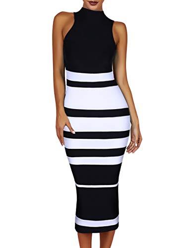 Maketina Womens High Neck Sleeveless Stripe Casual Long Bodycon Bandage Dress Black XL