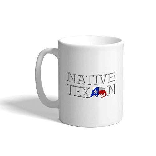 Taza de café personalizada 11 onzas banderas de países nativos de Texas solo diseño de taza de té de cerámica
